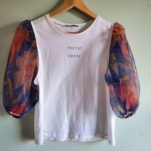 ZARA Poetic Quote Top S poof sleeves T-shirt